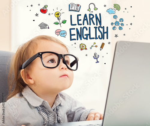 Fotografia Learn English concept with toddler girl