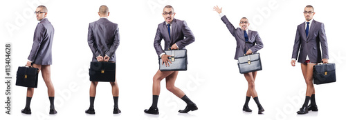 Photo  Composite photo of naked businessman on white