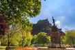 Ross fountain landmark in Pincess Street Gardens and Edinburgh Castle