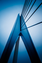 Modern Bridge Detail,yangtze River Bridge,blue Toned Image.