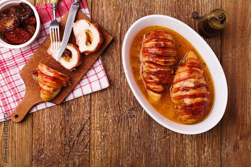 Fotografie, Obraz  Delicious chicken rolls with dried tomatoes and mozzarella.