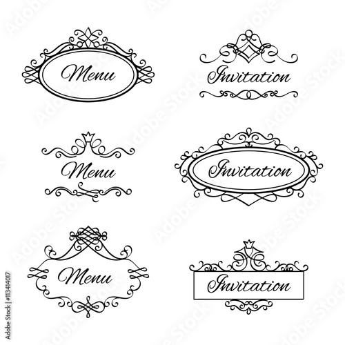 Calligraphic vignettes for menu and flourishes flourishes frames for calligraphic vignettes for menu and flourishes flourishes frames for wedding invitation vector illustration stopboris Image collections