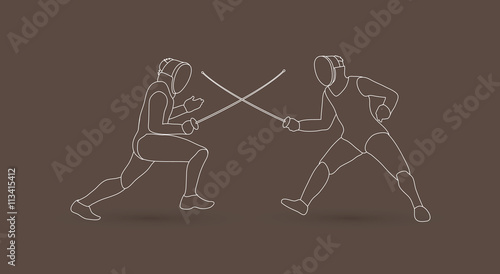 Fototapety, obrazy: Fencing Fighter designed using outline graphic vector