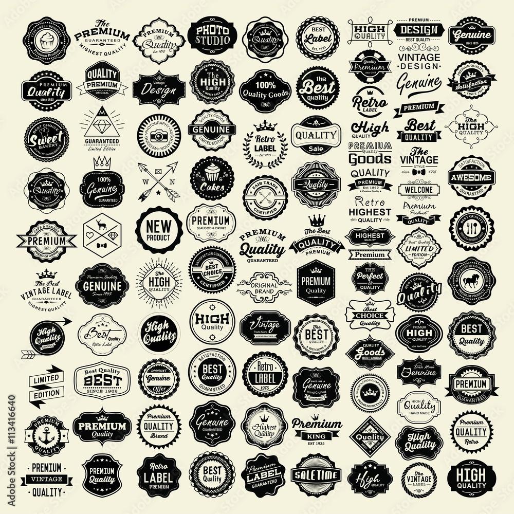Fototapeta 100 Labels and Logotypes design set. Retro Typography, Premium Quality design. Badges, Logos, Borders, Arrows, Ribbons, Icons.
