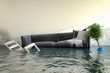 Leinwanddruck Bild - Überschwemmtes Wohnzimmer - Wasserschaden - Hochwasser