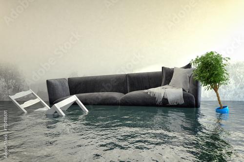 Pinturas sobre lienzo  Überschwemmtes Wohnzimmer - Wasserschaden - Hochwasser