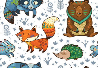 Naklejka Woodland annimals seamless pattern