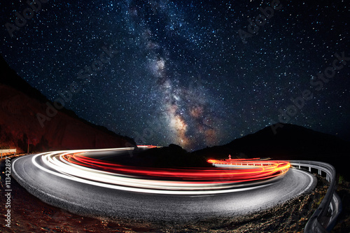 Canvas Print Stars and cars lights trails in the road