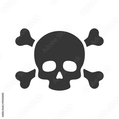 Photo  Skull and Crossbones Icon on White Background. Vector