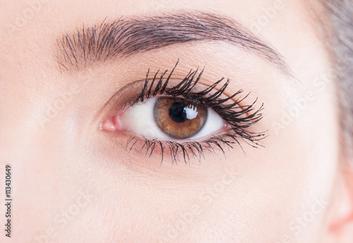 Foto op Plexiglas Beauty Beauty close-up eye with mascara and natural skin look