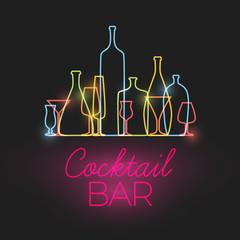 FototapetaVector Fresh Cocktail bar neon sign