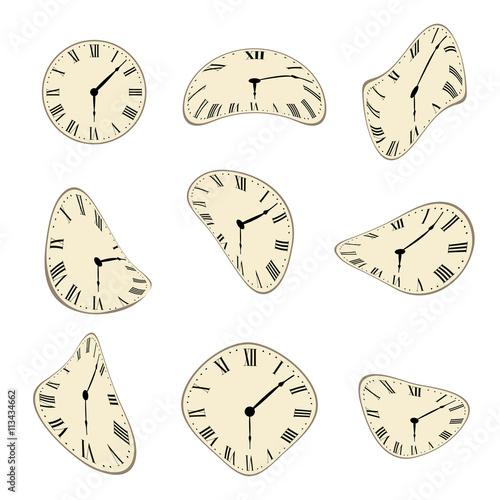 Fotografie, Obraz  Classic Wall Clock distorted vector set design