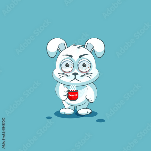 isolated Emoji character cartoon White leveret nervous with cup of