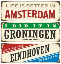 Netherlands Cities Retro Metal...