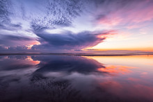 Colorful Dramatic Sunset Sea With Reflection