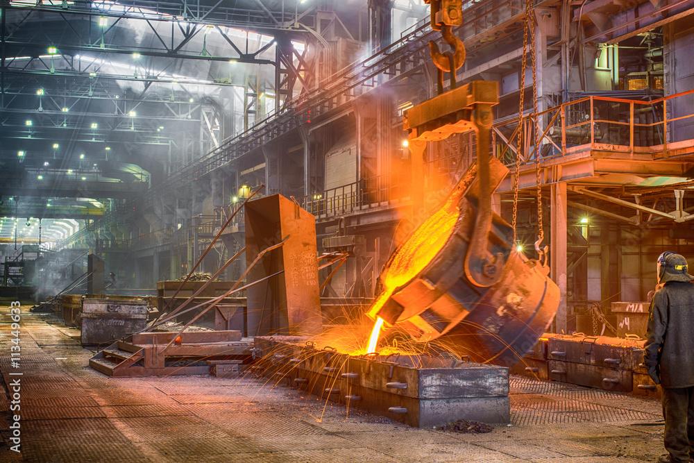 Fototapety, obrazy: Novokuznetsk, Russia - MAY 25, 2016: Casting ferroalloy factory