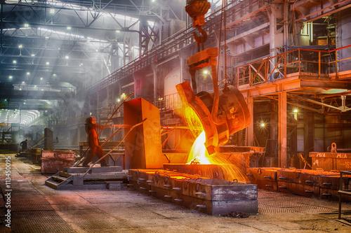 Fototapeta Novokuznetsk, Russia - MAY 25, 2016: Casting ferroalloy factory  obraz