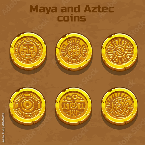 Fotomural old gold aztec and Maya coins, resource gaming element