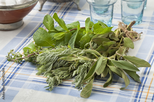 plakat Bouquet of fresh Moroccan herbs