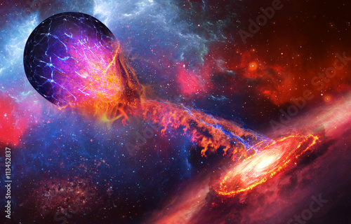 Photo Supernova absorbs blue planet on space background