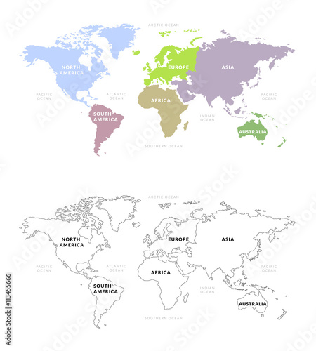 World Map Continents Colored And Outline Vector Of World Map With
