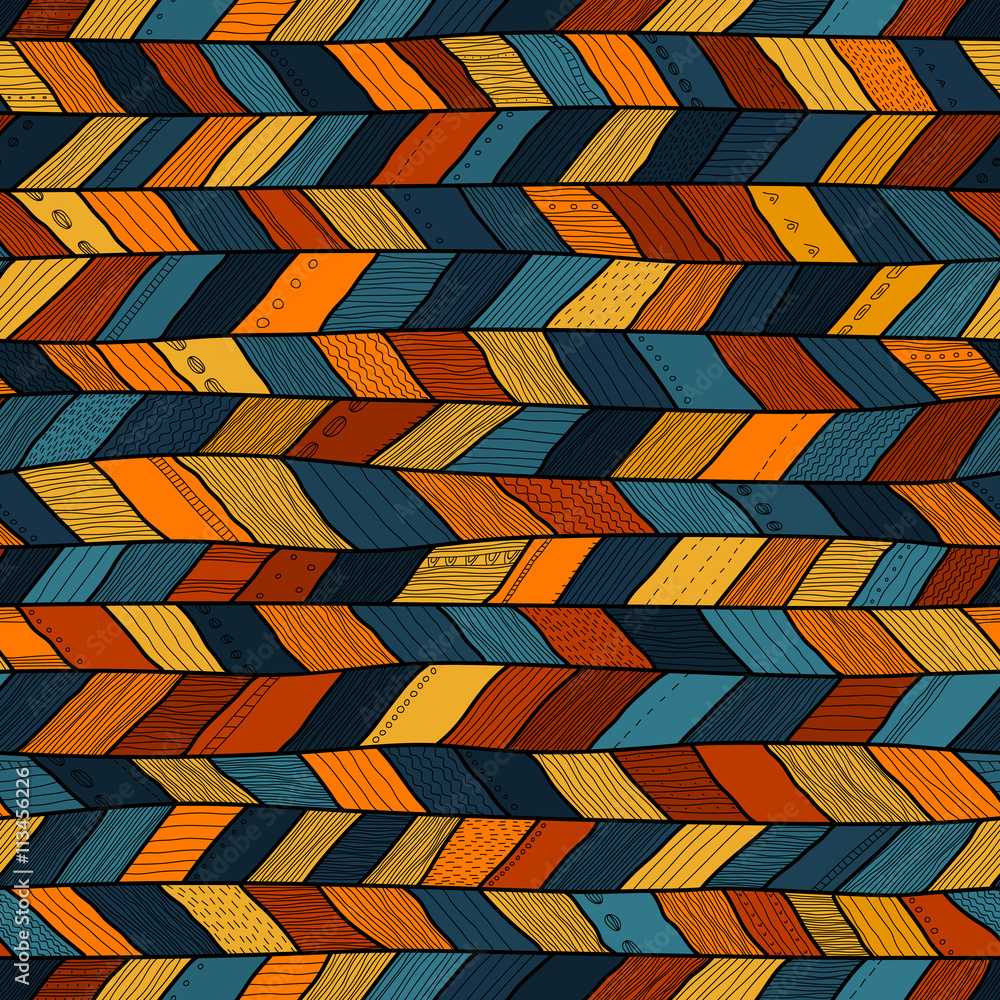 Photo Tribal style crazy quilt, ethnic chevron multicolor.