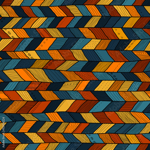 Αφίσα Tribal style crazy quilt, ethnic chevron multicolor.