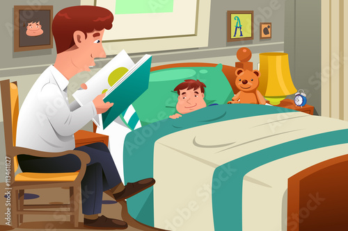 Fotografie, Obraz  Father Reading Story