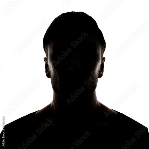 Hidden face in the shadow.male person silhouette Fototapet