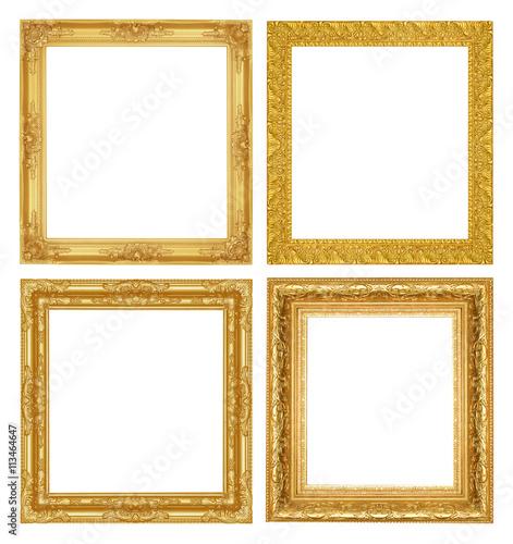 Fototapeta Set  antique golden frame isolated on white background obraz na płótnie