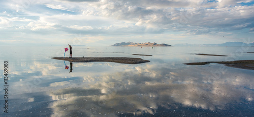 People at Great salt lake, Utah