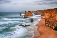 Cloudy Day In Twelve Apostles Sea Rocks, Victoria, Australia. HDR Processed Technique.