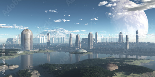 Canvas Print ciudad sci-fi