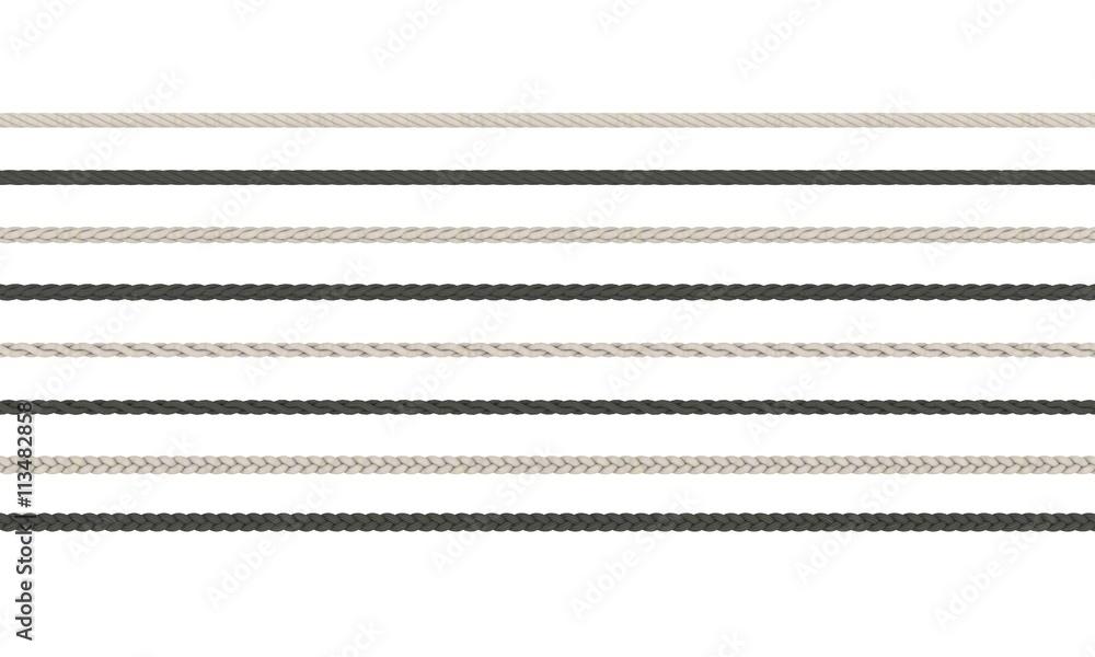 Fototapety, obrazy: Rope braided set. Isolated on white background.