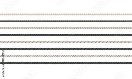 Fotografiet  Rope braided set. Isolated on white background.