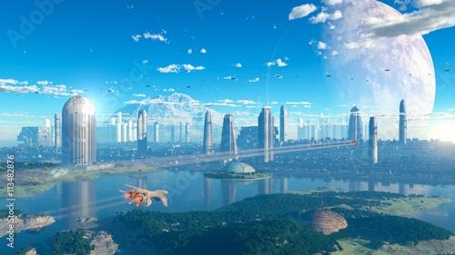 Obraz na plátne ciudad sci-fi