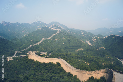Great Wall of China and mountains against sky Poster