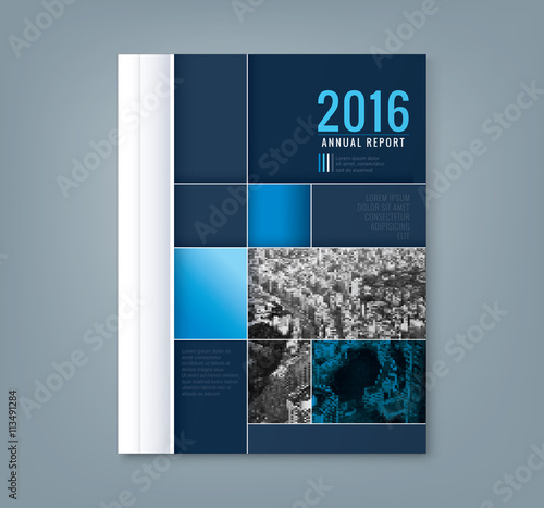 Fotografiet  Abstract geometric square shape design template for business annual report book