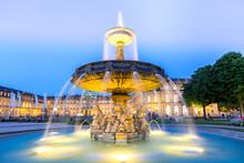 Stuttgart City Center, Germany At Dusk