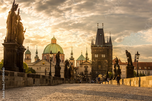 Poster Praag Prague Charles bridge sunrise