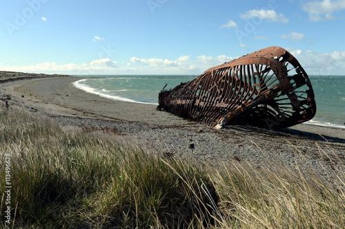 Foto op Canvas Schipbreuk Rusty ship on the shore of the Strait of Magellan in the village of San Gregorio.