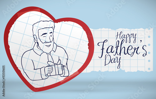 Canvas Prints Fairytale World Postcard with Dad in Handcraft Heart Celebrating Father's Day, Vector Illustration
