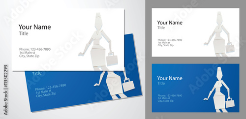 Vector Image Of Templates Of Business Cards Blue And White Colors