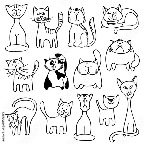 Home Pets Cute Cats In Doodle Vector Style Cat Animal