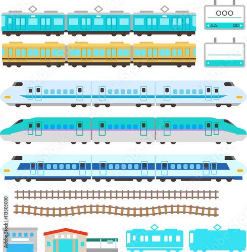 かわいい電車と新幹線のイラストセット Adobe Stock でこのストック