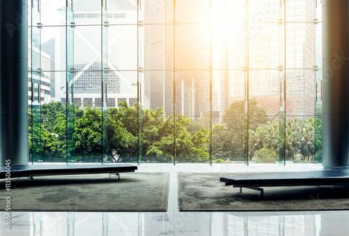 Fototapeta Glass wall in the office building obraz na płótnie