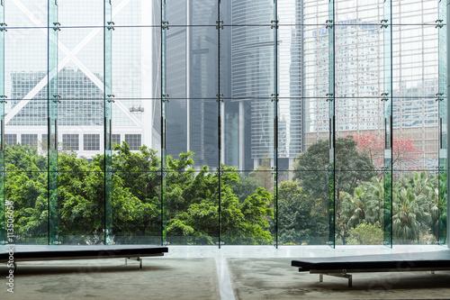 Fototapeta Modern glass wall of office building obraz na płótnie