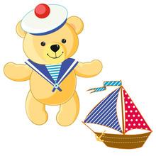 Toy Teddy Bear Seaman, Textile Boat, Sailboat. Summer, Sea, Vacation, Holiday.