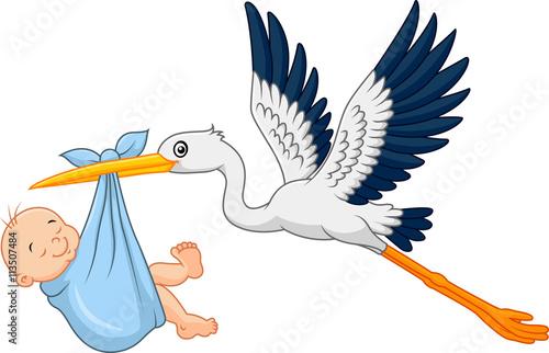 Cartoon stork carrying baby #113507484