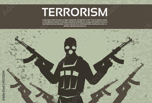 Fotografía  Terrorism Armed Terrorist Black Mask Hold Weapon